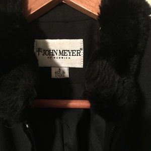 Black wool jacket with fur lined collar